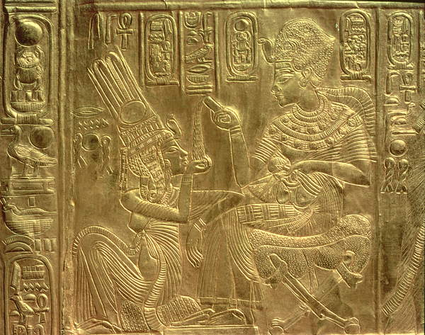 Image of a  Detail from the Golden Shrine, Tutankhamun's Treasure (wood overlaid with a layer of gesso and coverd with sheet gold), Egyptian 18th Dynasty (c.1567-1320 BC) / Egyptian, Egyptian National Museum, Cairo, Egypt, © Bridgeman Images