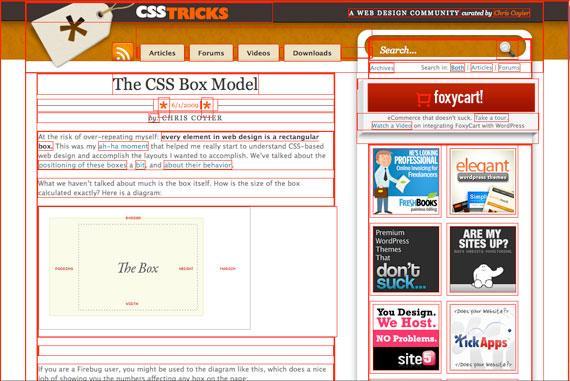 CSS box model webpage