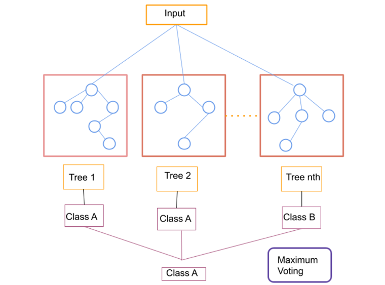 Working diagram of random forest classifier that involves numerous trees