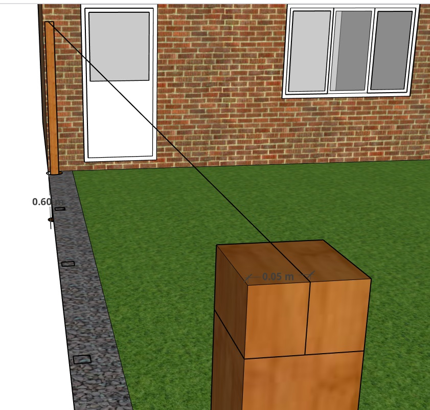 A string line used to get the correct level of each post used in building a slatted fence
