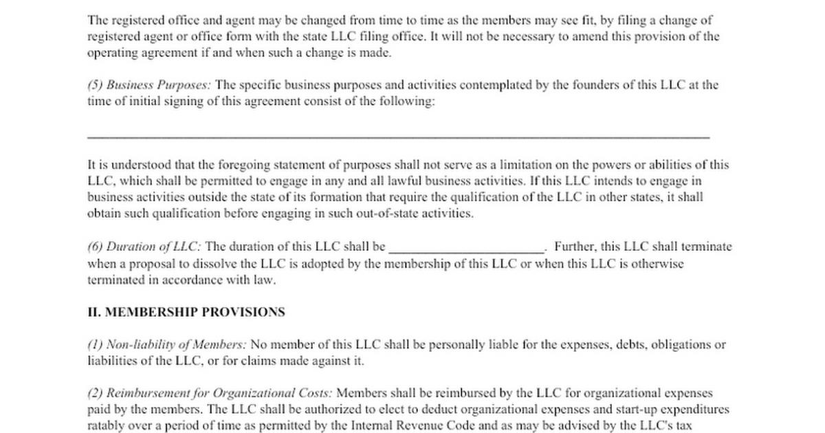 Free Llc Operating Agreement Google Docs
