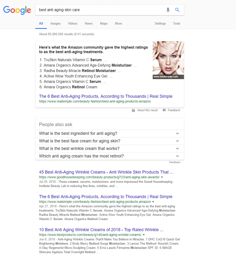 Screenshot of the new Google SERP showing rich content snippets