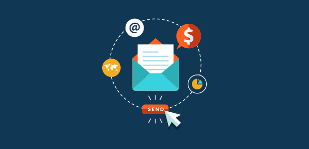 An envelope in blue background representing email marketing