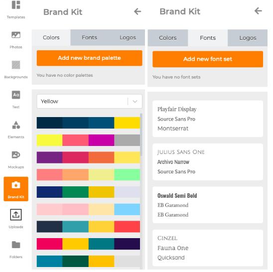 Outil de conception en ligne, fonctionnalité Kit de marque Designmaker.