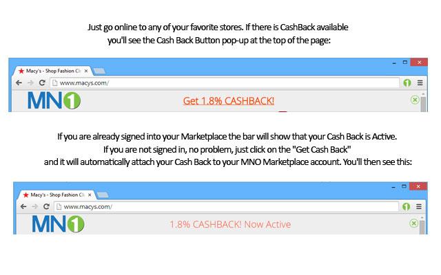 MNO Marketplace Cash Back + Referral Cash chrome extension