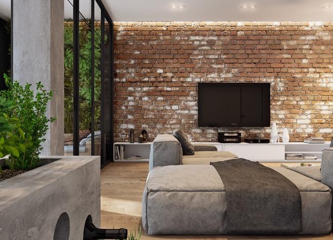 Gạch ốp tường kích thước 30x30 phù hợp với không gian phòng khách