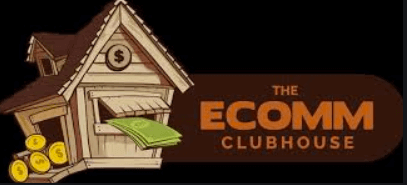 logo for ecomm clubhouse on a black background