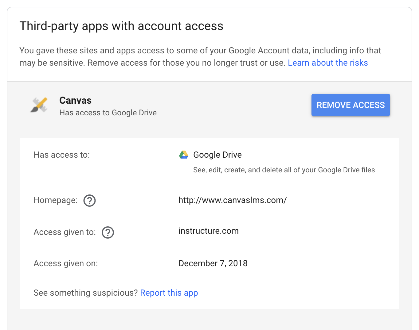 Third party apps with account access menu