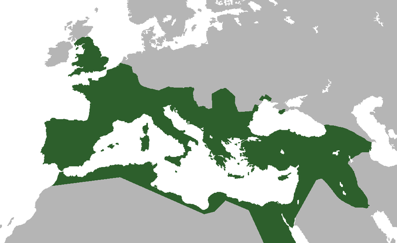 Map of Europe depicting the furthest extent of the Roman Empire, from Scotland through North Africa, and southern Germany through Mesopotamia.