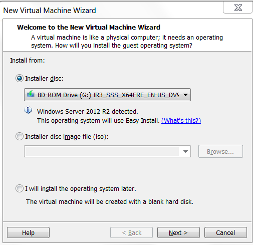Setup New Virtual Machine Wizard