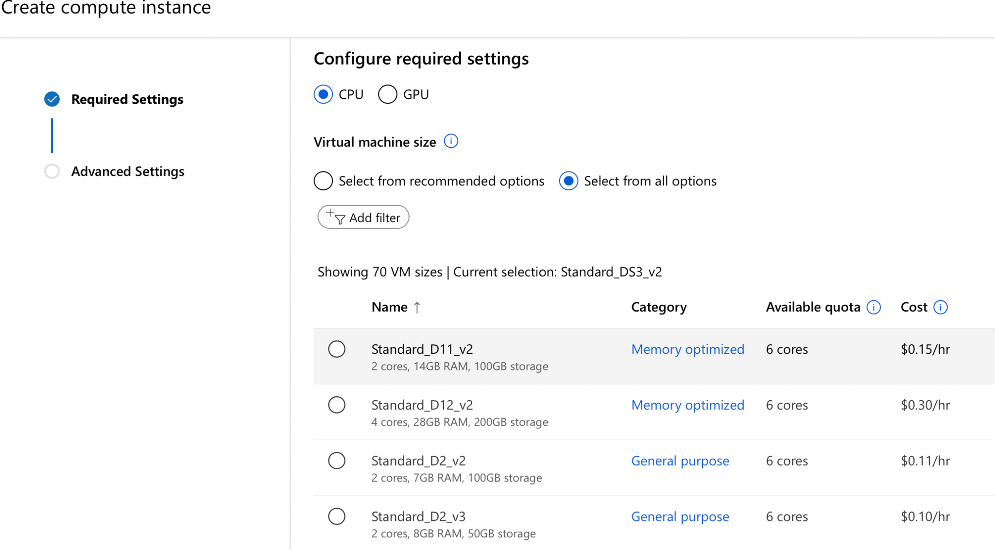 provide compute instance azure Machine learning