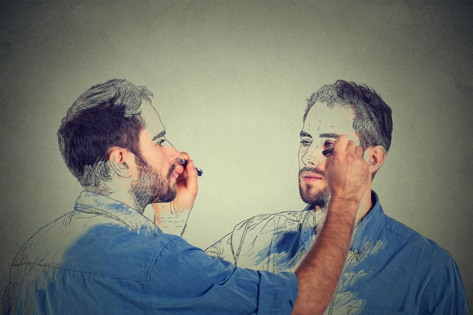 Homem fazendo auto-retrato