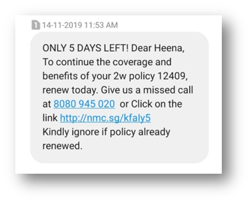 Sample of personalized SMS