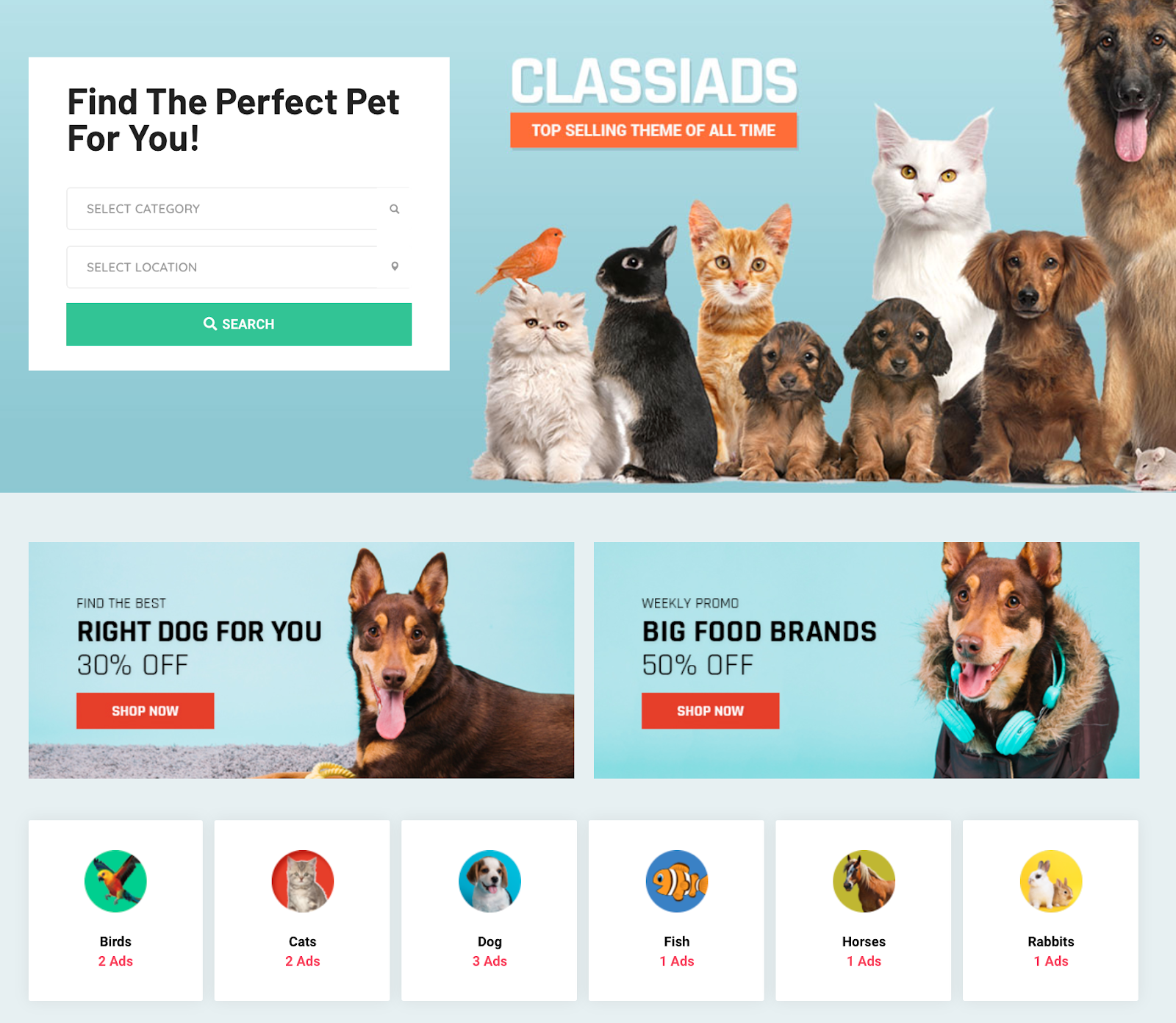 pet adoption classiads homepage search overview