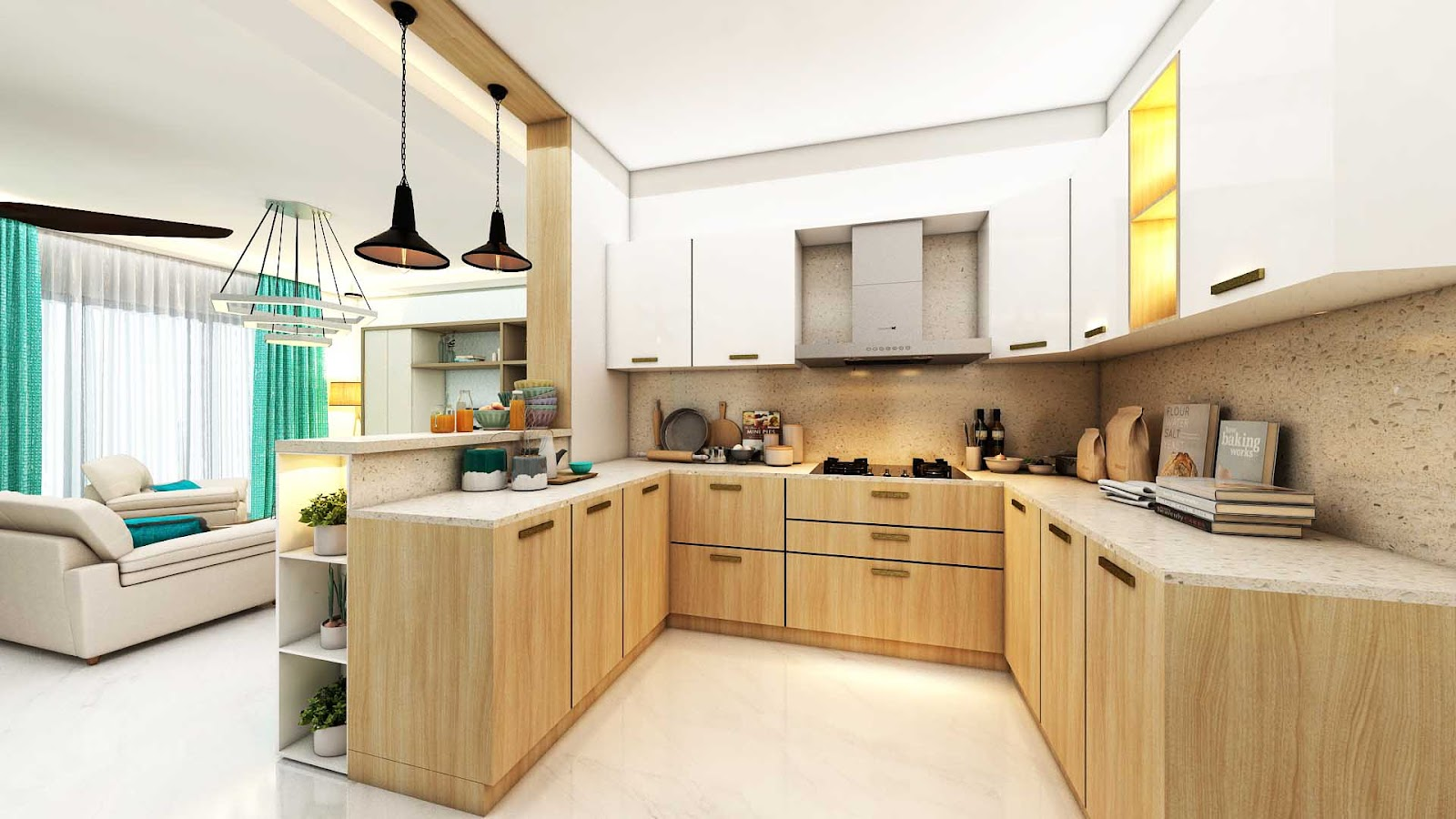 U-Shaped kitchen layout design