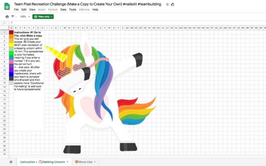 spreadsheet pixel art template image