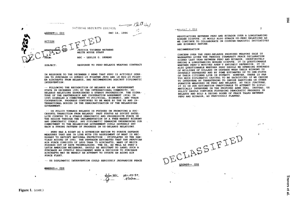declassified document used in study of the effect of secrecy.