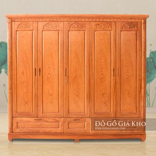Tủ áo gỗ Hương Đá 5 cánh Cao cấp TA067-5