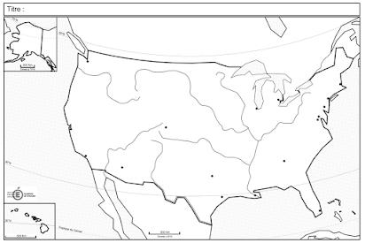 carte vierge des etats unis États Unis Brésil : rôle mondial, dynamiques territoriales