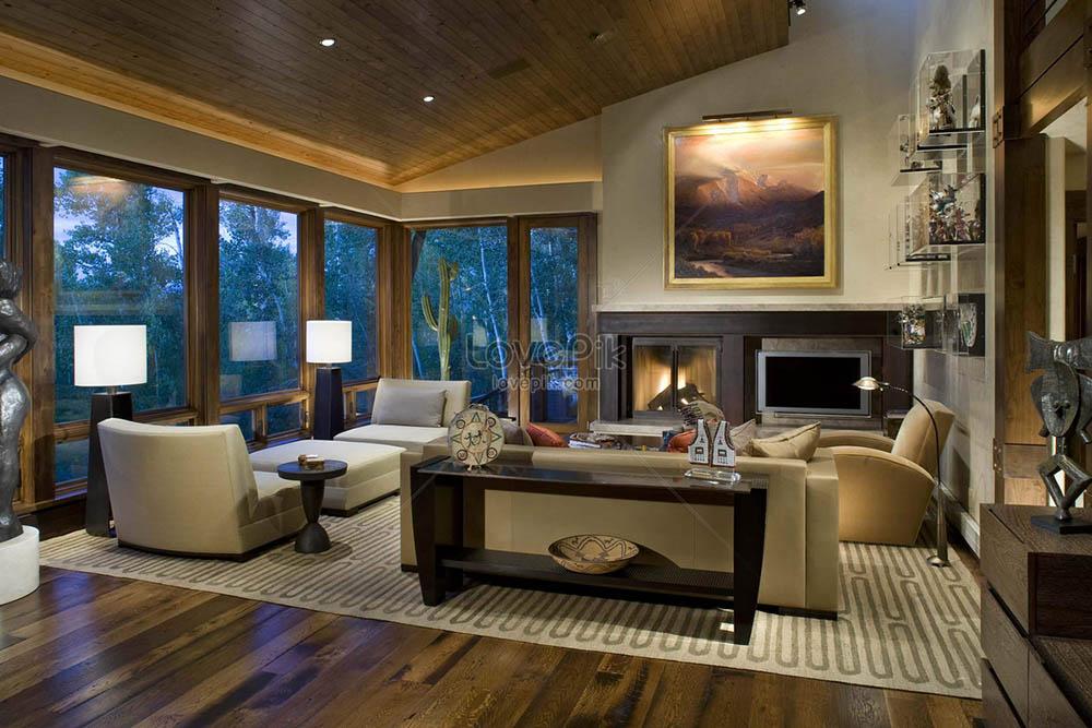 thiết kế phòng khách có màu tối