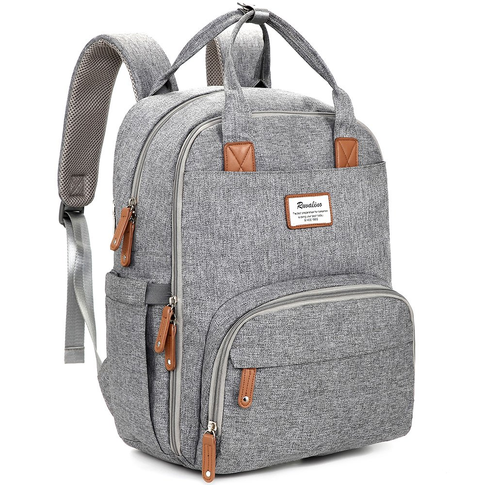 Grey digital nomad backpack when travelling with kids