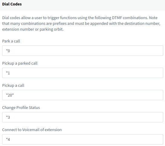 Find out how to use the default PBX Dial Codes directly from