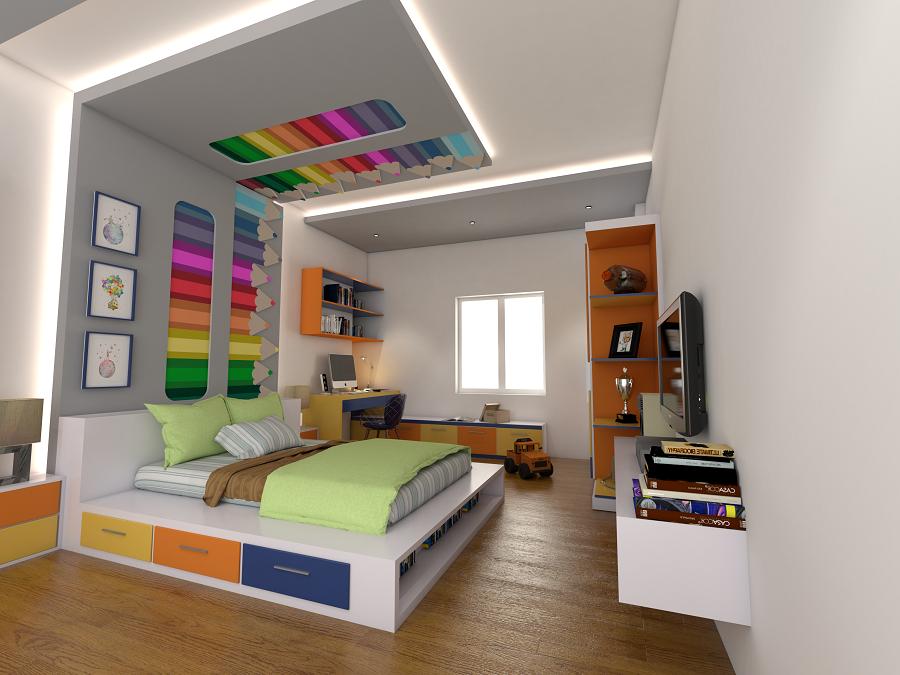 Tạo mẫu trần thạch cao phòng ngủ phù hợp với giới tính và sở thích của bé