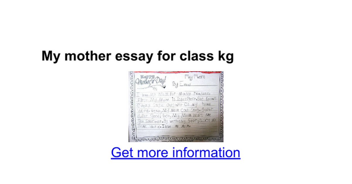 my mother essay for class kg google docs