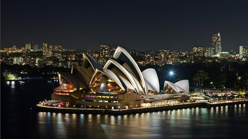 Sydney Opera House at night. Bucks party
