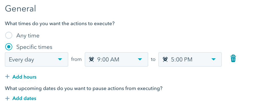 Workflow builder showing date and time settings