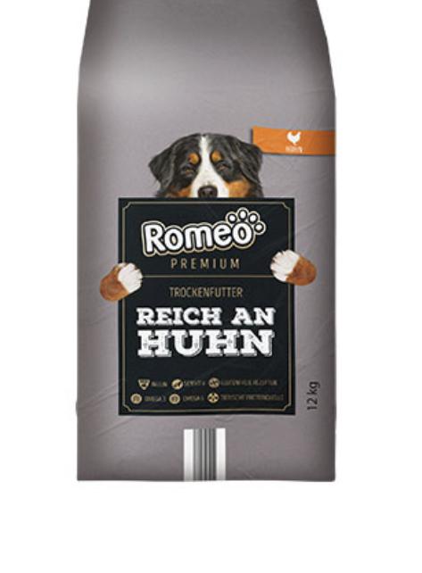 Romeo Hundefutter von Aldi Sorte reich an Huhn