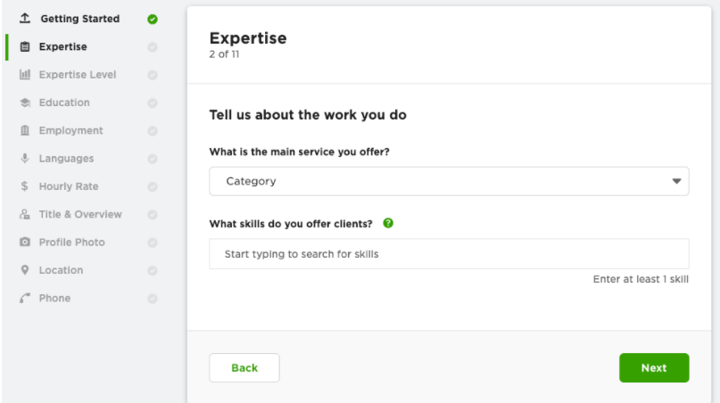 Expertise section of Upwork profile