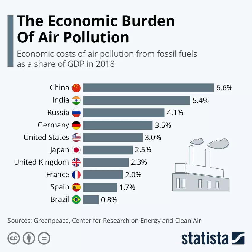 The Economic Burden of Air Pollution - economic costs of air pollution from fossil fuels