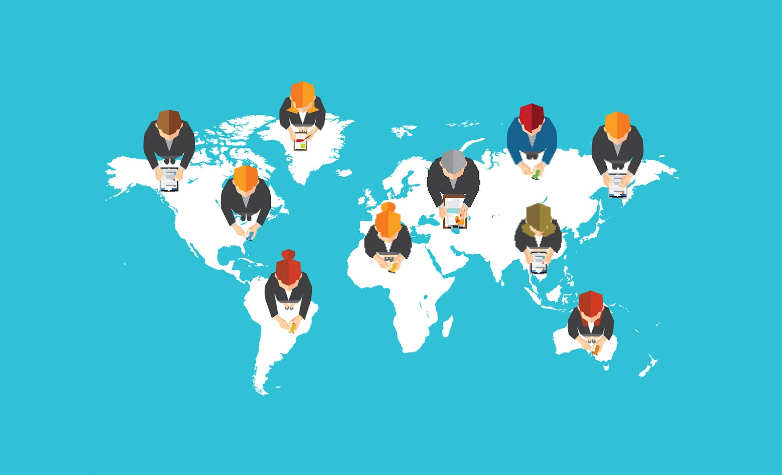 Representation of people working together across the world, which is possible now due to increased virtual workspaces.