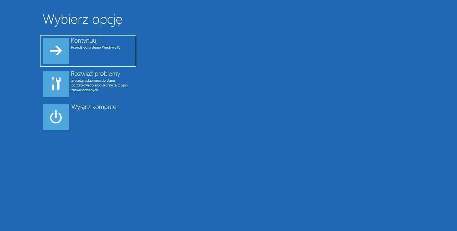 Przywracanie systemu Windows 10 wybierz opcję