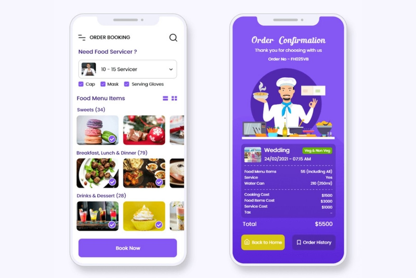 Catering booking services app