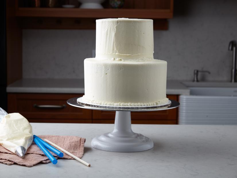 homemade, two-tiered wedding cake