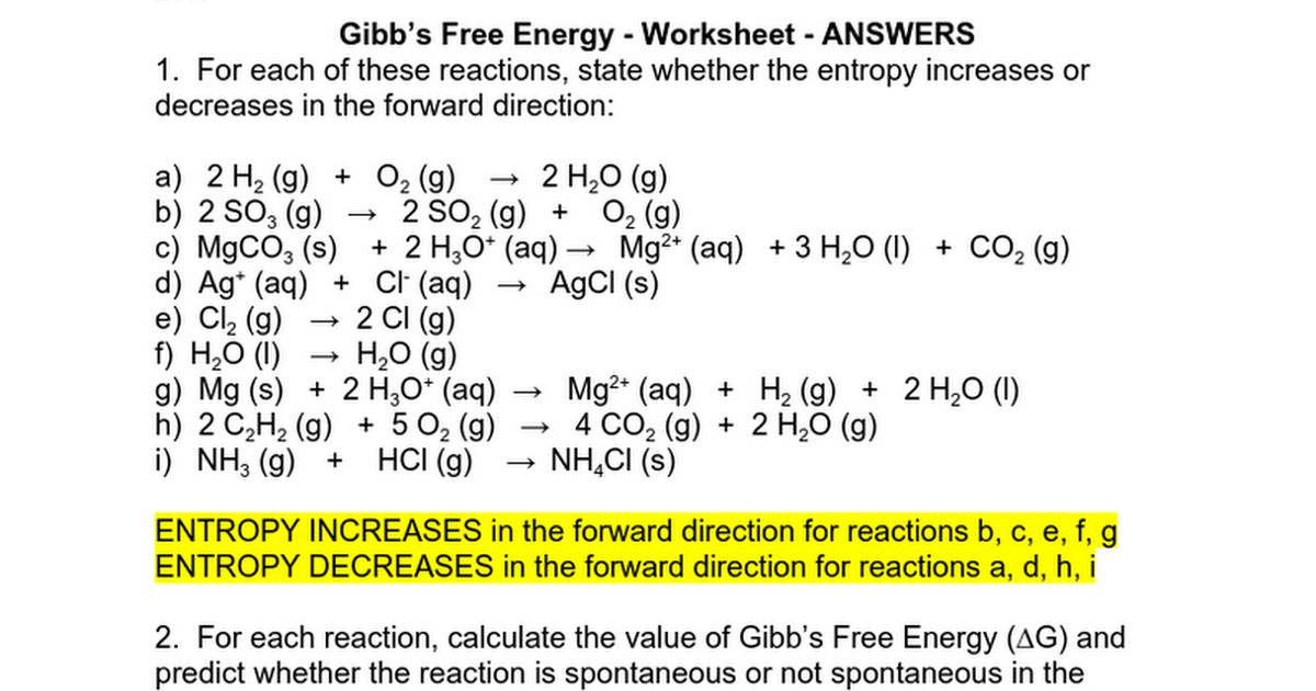 ET03 Gibbs Free Energy Worksheet ANSWERS Google Docs – Entropy Worksheet