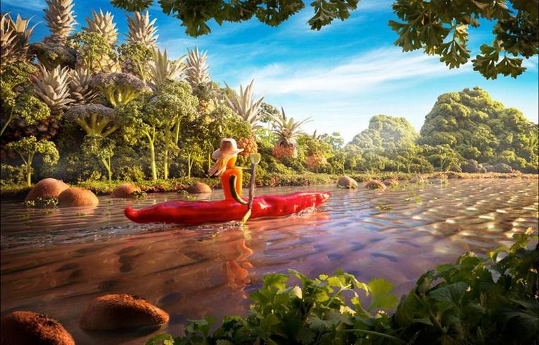 Каяк, плывущий по Амазонке