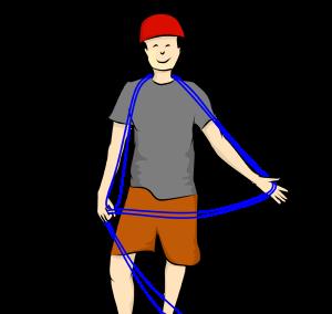 passer la corde d'escalade sur les épaules