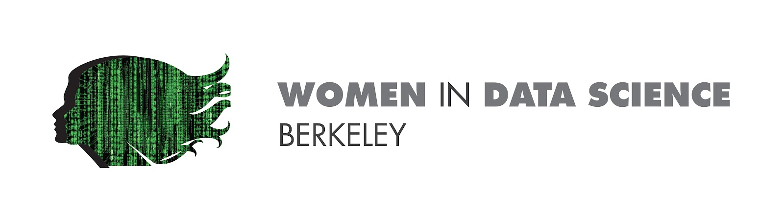 "Matrix silhouette of a woman's face placed on the left of the text, ""Women in Data Science Berkeley."""