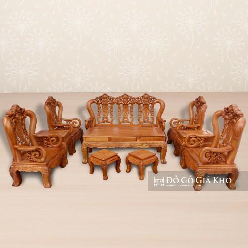 Bộ bàn ghế gỗ Gõ Đỏ Louis hoa lá tây tay 12 kiểu Pháp - BG054