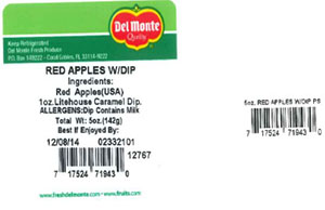Label, Del Monte Red Apples with Dip, 5 oz