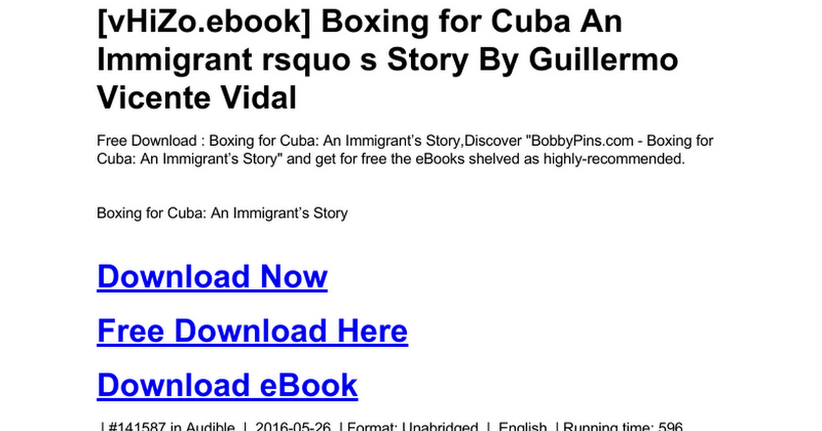 boxing for cuba an immigrants story