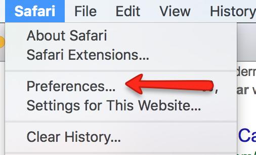 Safari Preferences Menu