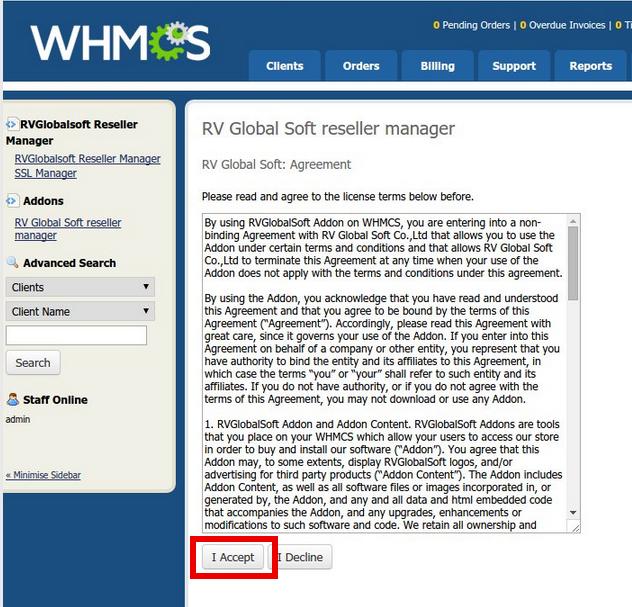Install RVssl Addon in WHMCS