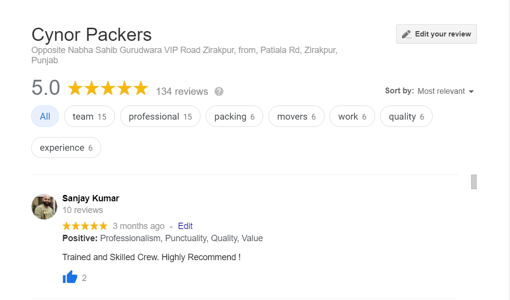 Cynor Packer Google review