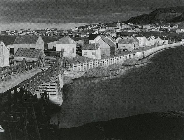 black and white coastal town
