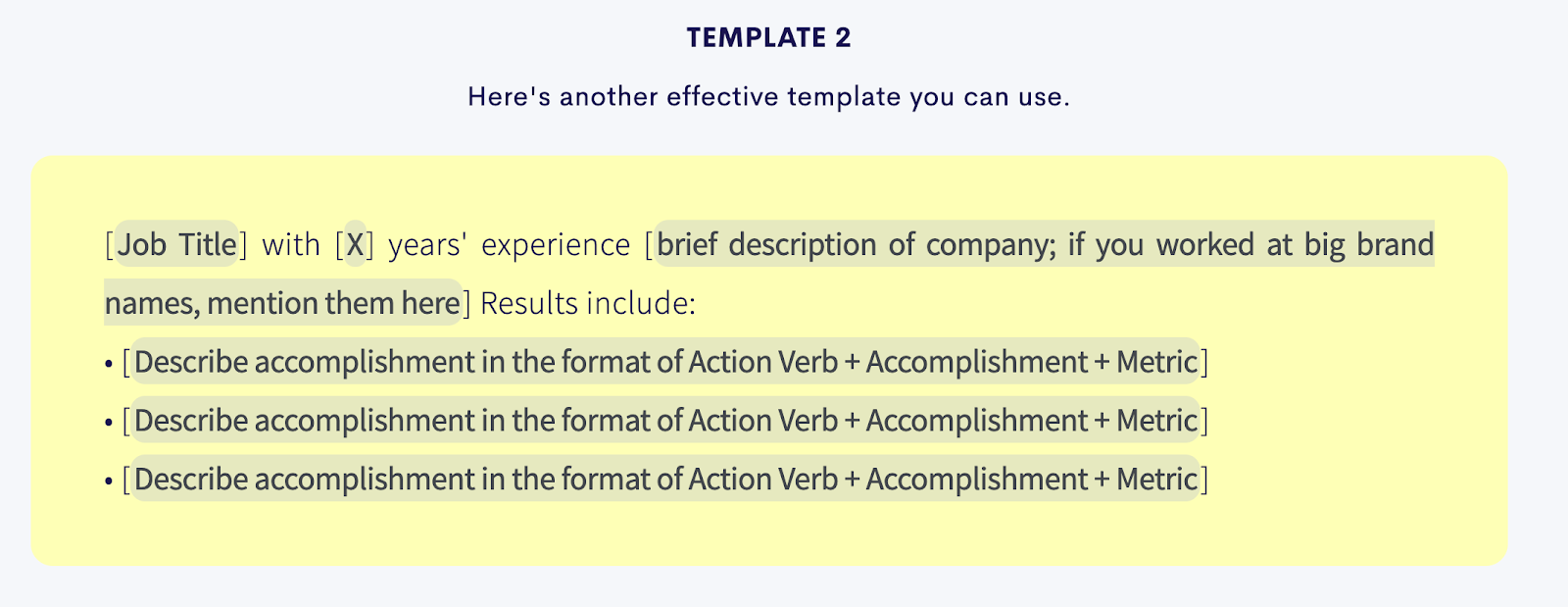 Resume summary template that prioritizes top three accomplishments from past experience