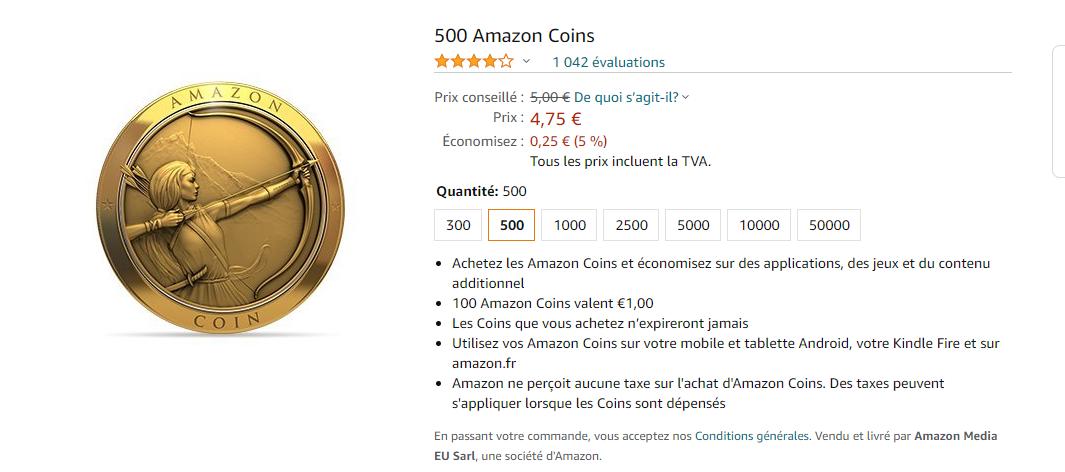 Les amazon coins en vente sur la plateforme et en promotion.